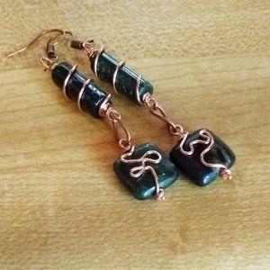 NEW! HANDMADE! Green Moss Agate + Jasper Earrings